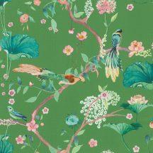 Rasch Amazing 539455 Natur Japán természeti motívum finoman rajzolt virágok egzotikus madarak zöld vízkék rózsaszín barna tapéta