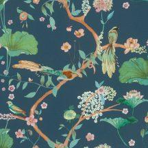 Rasch Amazing 539462 Natur Japán természeti motívum finoman rajzolt virágok egzotikus madarak sötétkék rózsaszín konyak zöld barna tapéta