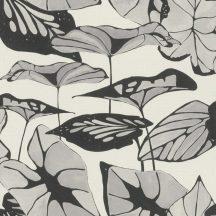 Rasch Amazing 539646 Natur Absztrakt formájú ázsiai lótuszlevelek vászon struktúra szürkésfehér szürke antracit tapéta