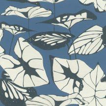 Rasch Amazing 539653 Natur Absztrakt formájú ázsiai lótuszlevelek vászon struktúra kék fehér antracit/sötétkék tapéta
