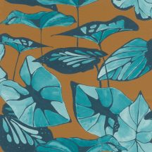 Rasch Amazing 539660 Natur Absztrakt formájú ázsiai lótuszlevelek vászon struktúra mustársárga/barna türkz sötétkék tapéta