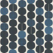 Rasch Amazing 539745 Grafikus Láncreakció! kézzel festett körök egymás után sorakoznak fehér antracit kék sötétkék tapéta