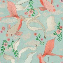 Rasch Amazing 539837 Natur Egy a japán stílusú minták repertoárjából Koi pontyok kecses vizi növények körében vízzöld rosé lazacszín fehér tapéta