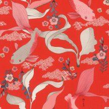 Rasch Amazing 539844 Natur Egy a japán stílusú minták repertoárjából Koi pontyok kecses vizi növények körében vörös fehér kék rózsaszín tapéta