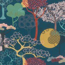 Rasch Amazing 539967 Natur Purista lényegre redukált absztrakt fák /japán design/ éjkék sárga zöld szines tapéta