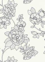 Erismann Black and White/Emma 5403-10 virágos fehér szürke fekete tapéta
