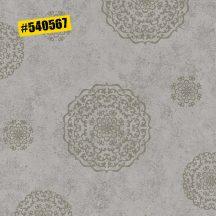 Rasch #ROCKENROLLE 540567  Neoklasszikus Vintage barokk mintázat meleg szürke ezüst fémes hatás tapéta