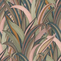 Rasch Amazing 541243 Natur Botanikus Stilizált illatos sárkányfa levélzete rósé-tól a zöldig sötétkéktől a mélysárgáig szines tapéta