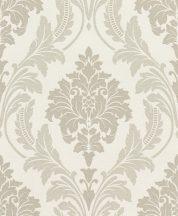 Rasch GLAM 541601 Neoklasszikus barokk virágdíszítés krémszín bézs ezüstözött csillámló mintázat tapéta