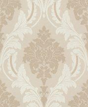 Rasch GLAM 541618 Neoklasszikus barokk virágdíszítés bézs barna ezüstözött aranyozott csillámló mintázat tapéta