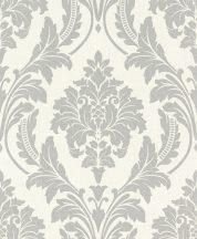 Rasch GLAM 541625 Neoklasszikus barokk virágdíszítés krémfehér ezüstszürke csillámló mintázat tapéta