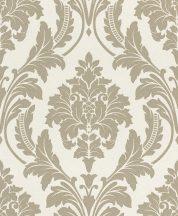 Rasch GLAM 541632 Neoklasszikus barokk virágdíszítés krémfehér bézs/világosbarna csillámló mintázat tapéta