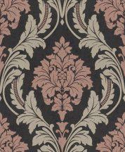 Rasch GLAM 541656 Neoklasszikus barokk virágdíszítés antracit bézs ó-rózsazsín/mályva bézsarany csillámló mintázat tapéta