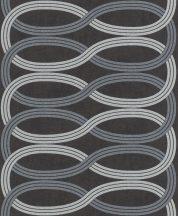 Rasch GLAM 541700 Design Retro vízszintes lendületes hullámminta antracit ezüstszürke világos szürke csillámló mintázat tapéta