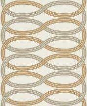 Rasch GLAM 541731 Design Retro vízszintes lendületes hullámminta krémszín ezüst arany csillámló mintázat tapéta