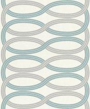 Rasch GLAM 541748 Design Retro vízszintes lendületes hullámminta krémszín világos ezüstszürke világos türkiz csillámló mintázat tapéta