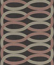 Rasch GLAM 541755 Design Retro vízszintes lendületes hullámminta antracit bézs bézsarany ó-rózsaszín/mályva csiloogó mintázat tapéta