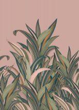 Rasch Amazing 542219 Natur Botanikus Áthatolhatatlan csíkos trópusi levelek rózsaszín szines falpanel