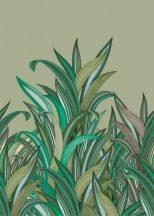 Rasch Amazing 542226 Natur Botanikus Áthatolhatatlan csíkos trópusi levelek zsályazöld szürkésbarna és zöld árnyalatok fehér falpanel