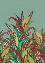 Rasch Amazing 542233 Natur Botanikus Áthatolhatatlan csíkos trópusi levelek mészzöld türkiz vörös szines falpanel