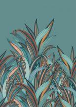 Rasch Amazing 542240 Natur Botanikus Áthatolhatatlan csíkos trópusi levelek türkizkék vízkék vörösesbarna szines falpanel
