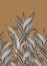 Rasch Amazing 542257 Natur Botanikus Áthatolhatatlan csíkos trópusi levelek konyakszín világosszürke antracit falpanel
