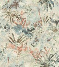 Rasch Poetry II 543025 Natur Organikus textil pálma páfrány bokor krém bézs rózsaszín kék zöld korall tapéta