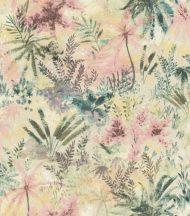 Rasch Poetry II 543032 Natur Organikus textil pálma páfrány bokor krém rózsaszín zöld kék sárga pasztell árnyalatok tapéta