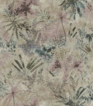 Rasch Poetry II 543049 Natur Organikus pálma páfrány bokor bézs sötétzöld bogyópiros kék tapéta
