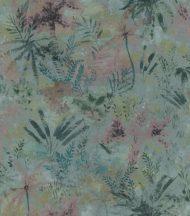Rasch Poetry II 543056 Natur Organikus pálma páfrány bokor kék sötétzöld kékeszöld ó-rózsaszín tapéta