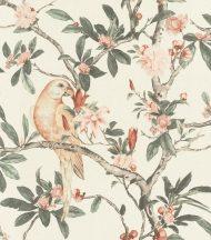 Rasch Poetry II 543315 Natur textil Papagáj virágzó levélágakon törtfehér sötét zsályazöld púderszín barack bézs szürke tapéta