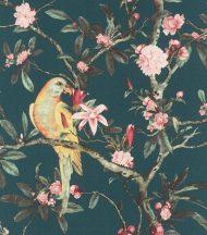 Rasch Poetry II 543353 Natur textil Papagáj virágzó levélágakon kélkeszöld szürkészöld rózsaszín szürke mustársárga tapéta