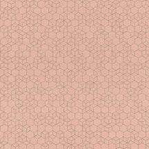 Rasch Highlands 550344  Geometrkius kockák láncolata rózsaszín rosé csillogó arany tapéta