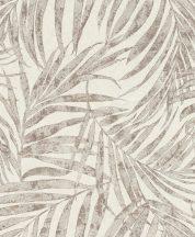 Rasch Linares 617412 Natur Trópusi finom vonalú pálmalevelek mészfehér matt szürke csillogó szürke és arany tapéta