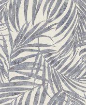 Rasch Linares 617429 Natur Trópusi finom vonalú pálmalevelek mészfehér matt és csillogó farmerkék és szürke tapéta