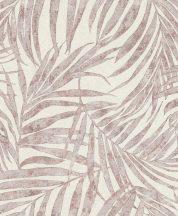 Rasch Linares 617436 Natur Trópusi finom vonalú pálmalevelek mészfehér matt és csillogó rózsaszín/mályva és szürke tapéta