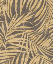 Rasch Linares 617450 Natur Trópusi finom vonalú pálmalevelek palaszürke matt és csillogó currysárga és arany tapéta