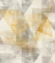 """Rasch Linares 617948 Geometrikus Áttünő háromszögek """"Pitagorasz tétele"""" dekorminta mészfehér bézs currysárga kavicsszürke rózsaszín/mályva tapéta"""