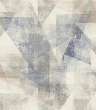 """Rasch Linares 617955 Geometrikus Áttünő háromszögek """"Pitagorasz tétele"""" dekorminta mészfehér szürke farmerkék szürkésbarna tapéta"""