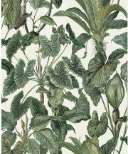Erismann Paradisio 6303-07 Natur Trópusi levelek fehér zöld árnyalatok tapéta