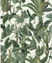 Erismann Paradisio 6303-07 Natur Dzsungel Trópusi levelek fehér zöld árnyalatok tapéta