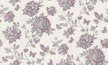Erismann Vintage 6335-16 natur virágmotívum szürkésfehér lila/borszín sötétszürke enyhe csillogás tapéta
