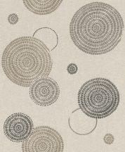 Rasch Sofia 634235 Geometrikus grafikus egyedi körmintázat szürke szürkésbézs barna fekete tapéta