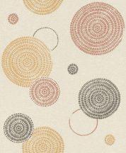 Rasch Sofia 634259 Geometrikus grafikus egyedi körmintázat bézs okkersárga barna/narancs fekete tapéta
