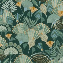 Rasch Denzo II 636690 Etno Ó-egyiptomi stílusú minta stilizált legyezők levelek zöld árnyalatok barna kék okker tapéta