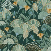 Rasch Denzo II 635690 Etno Ó-egyiptomi stílusú minta stilizált legyezők levelek zöld árnyalatok barna kék okker tapéta