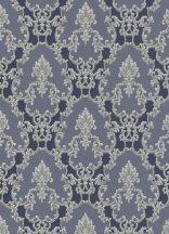 Erismann Palais Royal 6376-08 barokk díszítőminta kék szürke ezüst fénylő hatás tapéta