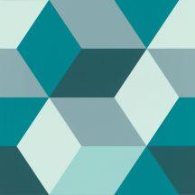 Rasch Sansa 638110  Geometrikus minta fehér zöld szürke türkiz sötétzöld tapéta