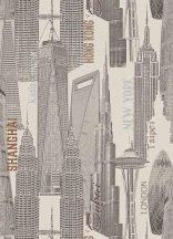 Erismann Mix Up 6474-02 felhőkarcolók fehér bézs szürke barna tapéta