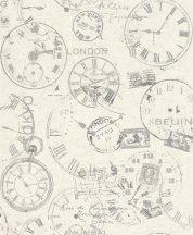 Rasch Andy Wand 649208 Vintage Etno órák bélyegek képeslapok törtfehér szürke lakkfényű ezüst tapéta